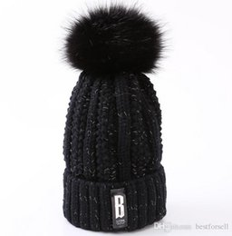 Wholesale blue label - Winter Knitted Beanie Label Women Warm Cotton Hats Brand Designer Knit Cap Folds Casual Beanies Hat 23 High quality