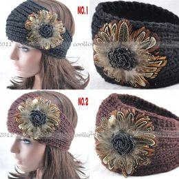 Wholesale Crocheted Headwraps - 30pcs lot Hand Knit Handmade Headwraps fur accessory Headband Crochet Adjustable Headband Ski Fashion