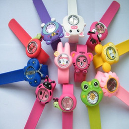 Wholesale Animal Snap Watches - Super Cute Animal Snap Slap Silicone Candy Jelly Watch Quartz Watches Fashion for Children and Kids Best Price via DHL
