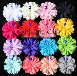 "Wholesale Eyelet Chiffon Flower Headband - 10%OFF 2015 NEW ARRIVAL! CHEAP 3 "" New fabric chiffon shabby flower WITH CLIPS headband eyelet flowers baby girls HAIR accessories 16 colors"