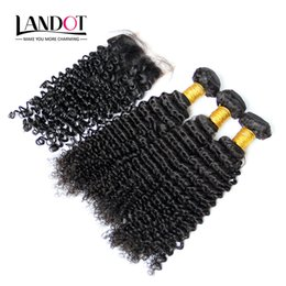 Wholesale Unprocessed Virgin Hair Deep Curl - 5Pcs Lot Cambodian Kinky Curly Virgin Hair With Closure 7A Unprocessed Deep Curl Human Hair Weave 4Bundles And 1Piece Lace Closures Size 4x4