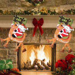 Wholesale Wholesale Snowing Xmas Tree - Santa Claus Snow Man Xmas Stocking Christmas Tree Ornament Creative Hanging Stocking Present Bag 19 Inch