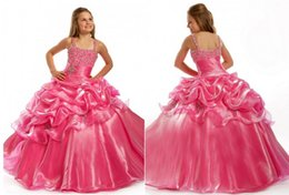 Wholesale Purple Dress Girl Age - Pink Beaded Crystals Spaghetti Straps Square Cute Princess Tiered Organza Custom Made Ball Gown Flower Girls Dresses For Weddings Aged