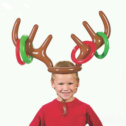Wholesale Outdoor Deer Decoration - Christmas Cute Deer Head Shape Ferrule Game Tools For Kids Inflatable Toys Balloons Party Birthday Decoration Outdoor Game Toys B11