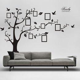 Wholesale Photo Adhesive Decal - 2015 Free Shipping:Large 200*250Cm 90*120in Black 3D DIY Photo Tree PVC Wall Decals Adhesive Family Wall Stickers Mural Art Home Decor