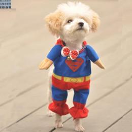 Wholesale Dog Clothes Superman Xl - Pet Costumes Dog Clothes Superman cloak Size XS S M L XL free ship WY136 10p