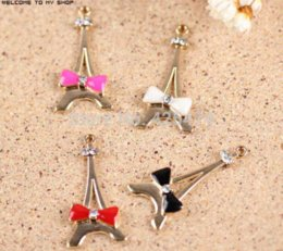 Wholesale Phone Decorating Charms - New 20PCS Gold Tone Oil Drop Enamel Bow Decorated Alloy Effiel Tower Charms for DIY Necklace Bracelet Phone Chain Keyring