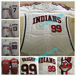 "Wholesale Brown Movies - The ""Major League"" Movie Jersey #99 Rick Vaughn #13 Pedro Cerrano #7 Jake Taylor White Red Mens Indians Throwback Baseball Jersey"
