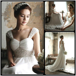 Wholesale Sweetheart Drop Waist - 2016 Elegant Beach Chiffon Wedding Dresses Sweetheart A Line Empire Waist Ruched Beaded Fashionable Summer Bridal Gown With Sweep Train