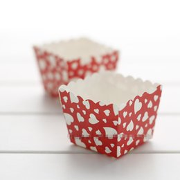 Wholesale Square Paper Baking Liners - Pure White Hearts Red Square Cupcake Wrapper 100pcs lot High Temperature Baking Paper Muffin Cupcake Liners