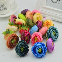 Wholesale cheap artificial wedding flowers - 100pcs Artificial Plastic Rose Flowers Cheap Bridal Accessories Clearance Vases For Decorate Wedding Diy Wreath Silk Small Tea Bud