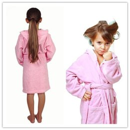 Wholesale White Terry Towels - Sold Towel Material Comfortable Cotton Hooded Robe Kids Terry Bathrobe 4size 4 colors available Free Shipping