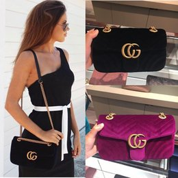 Wholesale Envelopes Bags - Women Marmont Shoulder Crossbody Bag Lady Matelassé Velvet Messenger Bags Zig Zag Small Handbags Black Top Handle Bags With Original Box