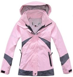 Wholesale Double Layer Ski Jacket - Wholesale-Free Shipping 2015 Brand High Quality Women's 2in1 Double Layer Climbing Sports Coat Winter Outdoor Waterproof Skiing Jacket
