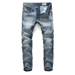 Wholesale Men Cut Jeans - Wholesale-Brand New 2015 Men Designer Jeans Luxury Jeans Famous European Style Zipper Cotton Denim Straight Cut Fashion Jeans Pants Man