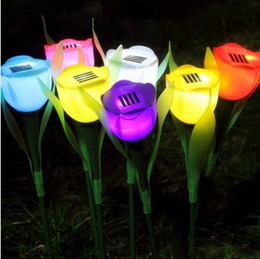 Wholesale Solar Led Flowers - 4Colors Hot Sale Outdoor Garden Solar LED Light Solar Powered LED Tulip Home Lawn Lamp Landscape Night Flower Lamp