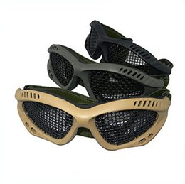 Wholesale Airsoft Mesh - Airsoft Outdoor Sport mesh goggles no fogging square holes Glasses Net CS Game Protective Tactical Military Eyewear