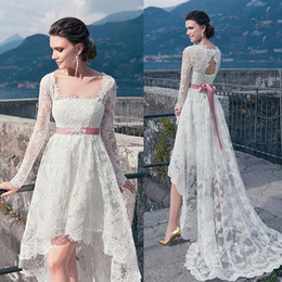 Wholesale Long Back Casual Dresses - High Low Wedding Dresses Sash in Pink 2016 Square Neck Illusion Long Sleeves Lace Casual Bridal Gowns Flowing Keyhole Lace up Back Cheap