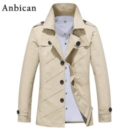 Wholesale Classic Khaki Trench Coat - Wholesale- Anbican Classic Men's Long Trench Coat Brand Design 2017 Autumn Fashion Khaki Windbreaker Trench Coat Plus Size 3XL 4XL 5XL