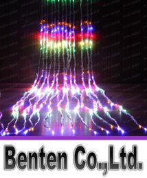 Wholesale Led Waterfall String Lights - Led Waterfall String Curtain Light 6m * 3m 640 Leds Water Flow Christmas Wedding Party Holiday Decoration Fairy String Lights LLFA3312F