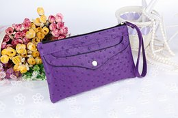 Wholesale Small Envelope Wallet - Fashion Women's Bags Ostrich Pu Leather Brief Wallet New Brand Small Handbags Female Evening Party Clutch Bag Change Key Totes 6 Colors