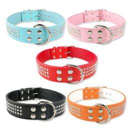 "Wholesale Dog Collar L Rhinestone - (5 colors) New style 1.5"" M L 3 Rows Rhinestone Leather Dog Collar Pet Diamante Collars"