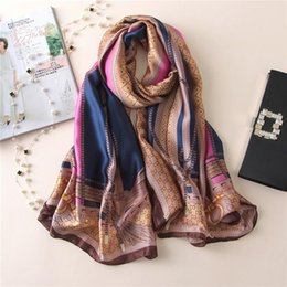 Wholesale Bee Headbands - Fashion Bee Letters Lace Print Lady Silk Big Rectangle Scarf Brand Design Silk Pashmina Shawl Wraps Soie Hijabs Capes