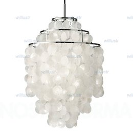Wholesale Lamp Seashells - Verner Panton Design Shell lamps Fun 2 and 3 Circle DIY Shell Pendant Lamp seashell chandelier lights FUN pendant modern chandelier