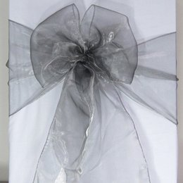 Wholesale Organza Silver Chair Bows - 100 Gray Organza Chair Sashes Dark Silver Charcoal Crystal Table Sample Fabric wedding Bow Gift -SASH