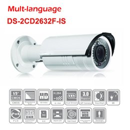 Wholesale Nvr Cameras - 3mp IP Camera DS-2CD2632F-IS Hikvision poe camera IR 30m Bullet 2.8-12mm POE 3DNR D-WDR audio support hikvision nvr security camera system