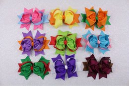 Wholesale Two Toned Baby Hair Bows - Wholesale 9pcs 5inches Baby Girl two tone mixed Ribbon Hair Bows Clip 2227-2235
