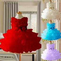 Wholesale Neck Ornament - Flower Girls Dress Princess Dress Flower Girls Dress Kids Sweet Bowknot and Flower Ornament Princess Dress Children Sleeveless and Waist