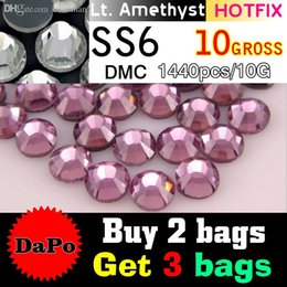 Wholesale Light Amethyst Rhinestones Hotfix - Wholesale-Wholesale Bright Glass Best Quality SS6 Light Amethyst Hotfix Rhinestones 1440pcs For Jewelry Accessories