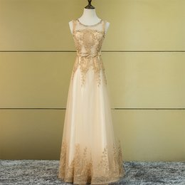Wholesale Plus Size Peplum Belt - Tulle Lace Muslim Gold Evening Dress Long Formal gown Prom Robe de Soiree Mother of the Bride Dresses come with Belt