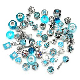 Wholesale European Rhinestone Cube - 10 colors New 50pcs mix style lake blue color Silver rhinestone and oil-drip charms beads fit European bracelet DIY