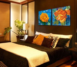 Wholesale Yellow Spray Paint - 2 Piece Elegant Yellow Flower Painting Home Wall Decoration Frameless Painting Art Picture Print On Canvas Hot Sale