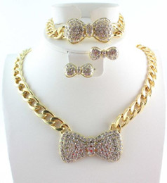 Wholesale Bow Bracelets Chain - Fashion Gold Plated Jewelry Sets Chunky Chain Full Rhinestone Bow Necklace Bracelet Earring for Women