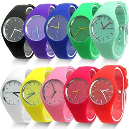 Wholesale Geneva Watches Colors - 12 colors New Fashion Watch Women Silicone GENEVA candy color Watch For Women Dress Watch Quartz Watches