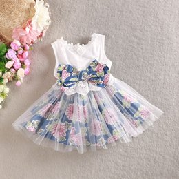 Wholesale Fresh Clothing - Fresh Grils Summer Dresses Sleeveless Floral Bow Cotton Tulle Denim Dress Lovely Kids Children Clothing Tutu Vintage Girl Beach Dressy 8974