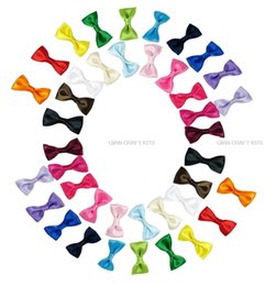 "Wholesale Clip Bow Ties Wholesale - set of 100pcs 1.5"" Satin Bow Tie Bows Boutique No Clip Baby Ribbon Hair Bows-Baby Shower Gift mixed colors by0131"