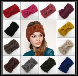 Wholesale Vertical Hair - 20style new corn two sides vertical headband Manual wool knitting warm lady hair hoop bow women Headdress FS-1