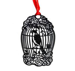 Детские карты онлайн-10 шт. Нержавеющая Сталь Черный BirdCage Bird Cage Закладка Книжная карточка Для Свадьбы Baby Shower Партия День Рождения Пользу Сувениры