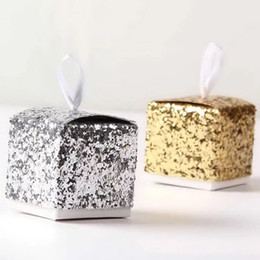 "Wholesale Silver Boxes For Wedding Favors - Gold Silver New Wedding Party Favors And Gifts Candy Box ""All That Glitters"" Gold Glitter Favor Box For Guest"