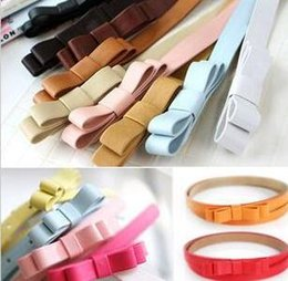 Wholesale Ladies Strapping Men - 2015 Hot Fashion waist belts for women Candy Color bow Thin pu Leather Belt brand Waistband Female Straps Ladies Cummerbund 20 colors