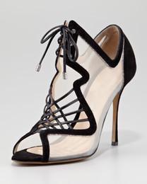 d4e0773c34 2016 Real Image Negro Zapatos de mujer Sandalias baratas modestas Ilusión  lado más el tamaño de encaje Hasta los tacones finos dedo del pie abierto  Estilo ...