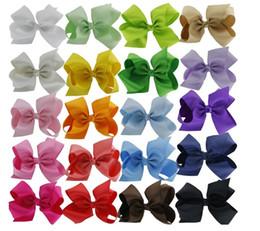 "Wholesale Cheap Hair Bow Ribbon - 20pc Wholesale Cheap Low Price Hair Bows Big 5.5"" Boutique Girl Baby Alligator Clip Large Grosgrain Ribbon Bows"