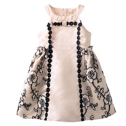 Wholesale Dress Baby Promotion - Pettigirl Promotion Girls Mesh Dresses Decorated With Bow Apricot Grace Patchwork Kids Dresses Retail Baby Clothing DMGD81014-234F