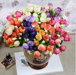 Wholesale Wholesale Silk Flower Buds - Spring color 15 Mini Rose Artificial Flowers 7 Colors Selection Rosebuds Star Party Decoration Wreaths Silk Bud Factory Direct ER02