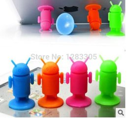Wholesale Silicone Android Robot - Wholesale-Cool Android Robot silicone mobile phone holders Suction cup mobile phone base for general models of mobile phone stands