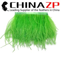 Wholesale Beautiful Trim - Gold Supplier CHINAZP Crafts Factory 10yards lot 10~15cm(4~6inch) Width Beautiful Decorative Dyed Lime Green Ostrich Feather Fringe Trim